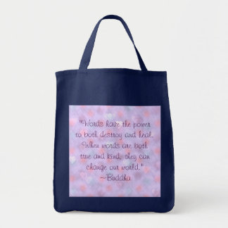 Buddha Kind Words Quote Grocery Tote Bag