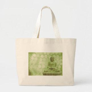 buddha light (light green) large tote bag