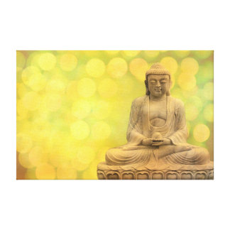 buddha light (yellow) stretched canvas prints