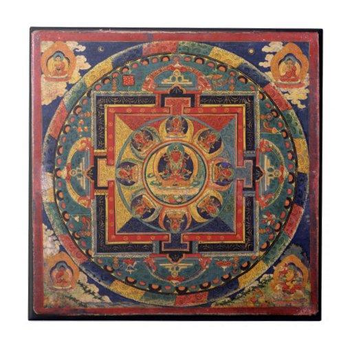 Buddha Mandala Antique Tibetan Thanka Tile