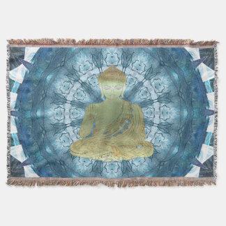 Buddha Mandala applied (blue) Throw Blanket