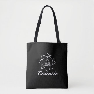 Buddha Mandala Black Tote Bag
