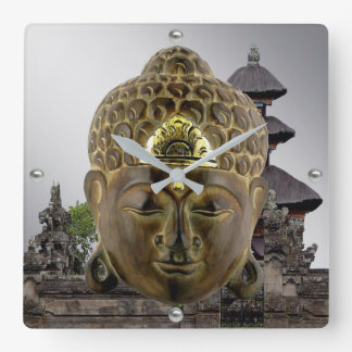 Buddha Mask and Temple Square Wall Clock