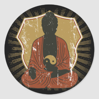 Buddha Meditating Yin Yang Classic Round Sticker