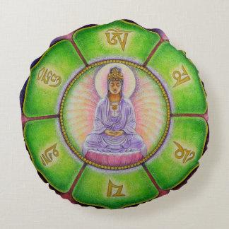 Buddha Meditation OM Round Pillow Mandala Kuan Yin