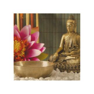 Buddha Meditation Pink Flower Wood Wall Decor
