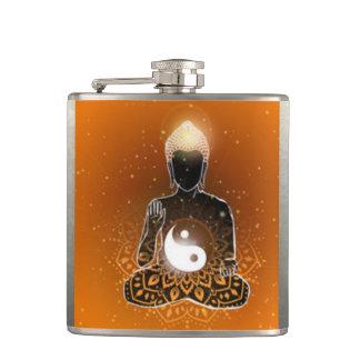 Buddha Meditation Ying Yang Design Hip Flask