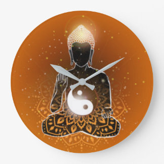 Buddha Meditation Ying Yang Design Large Clock