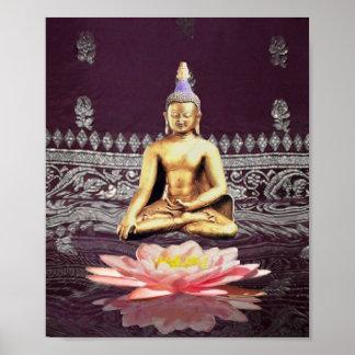Buddha On Lotus Poster