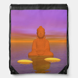 buddha orange and steps yellow drawstring bag
