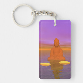 buddha orange and steps yellow key ring