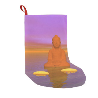 buddha orange and steps yellow small christmas stocking