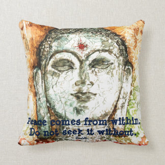Buddha Peace Quote Watercolor Art Throw Pillow