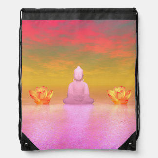buddha pink and water lily orange drawstring bag