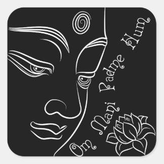 Buddha pondering lotus flower White Square Sticker