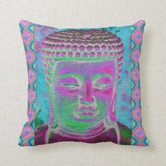 Buddha Pop in Magenta and Turquoise Cushion