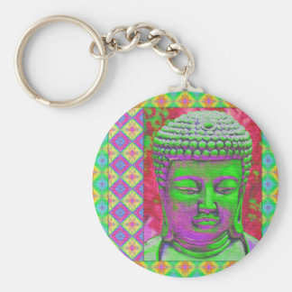 Buddha Pop with Patchwork Borders in Green and Red Basic Round Button Key Ring