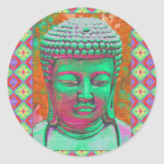 Buddha Pop with Patchwork Borders in Green and Red Classic Round Sticker