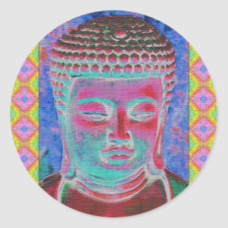 Buddha Pop with Yellow and Pink Borders Classic Round Sticker