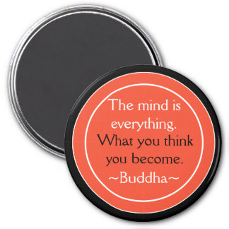Buddha Quote Black Orange Inspirational 7.5 Cm Round Magnet