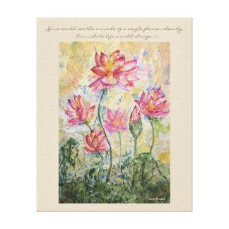 Buddha Quote Lotus Watercolor Canvas Wall Art