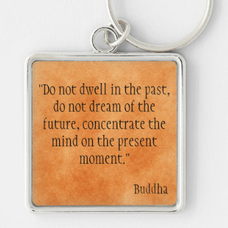 Buddha Quote Silver-Colored Square Key Ring