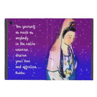 Buddha Quote with Kuan Yin Violet Blue Starry Sky iPad Mini Case
