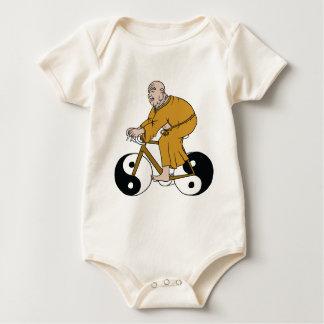 Buddha Riding A Bike With Yin Yang Wheels Baby Bodysuit