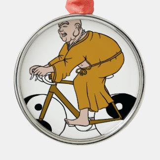 Buddha Riding A Bike With Yin Yang Wheels Metal Ornament
