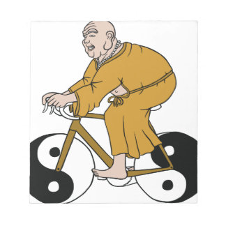 Buddha Riding A Bike With Yin Yang Wheels Notepad