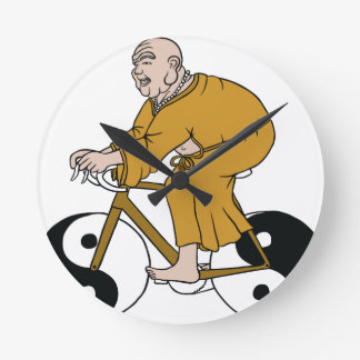 Buddha Riding A Bike With Yin Yang Wheels Round Clock