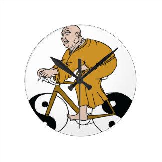 Buddha Riding A Bike With Yin Yang Wheels Wall Clocks