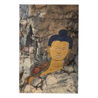 Buddha Rock Painting Wood Print