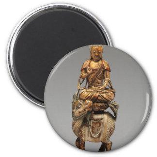 Buddha Shakyamuni with attendant bodhisattvas 6 Cm Round Magnet