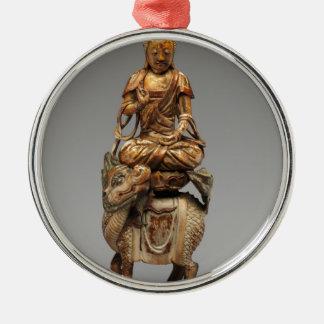 Buddha Shakyamuni with attendant bodhisattvas Silver-Colored Round Decoration