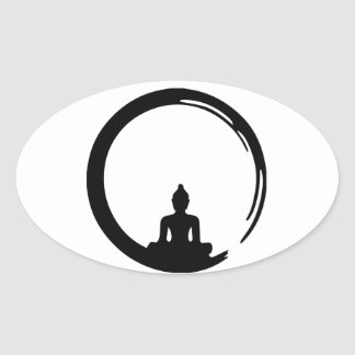 Buddha silent oval sticker