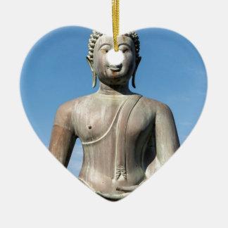 Buddha Statue, Sri Lanka Ceramic Heart Decoration