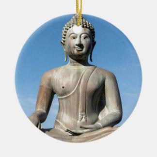 Buddha Statue, Sri Lanka Round Ceramic Decoration