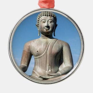 Buddha Statue, Sri Lanka Silver-Colored Round Decoration
