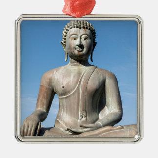 Buddha Statue, Sri Lanka Silver-Colored Square Decoration