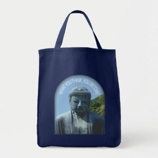 """Buddha """"Think & Become"""" Tote Grocery Tote Bag"""