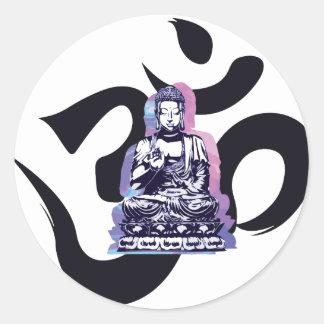 buddha wave 3 classic round sticker