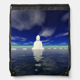 buddha white and steps drawstring bag