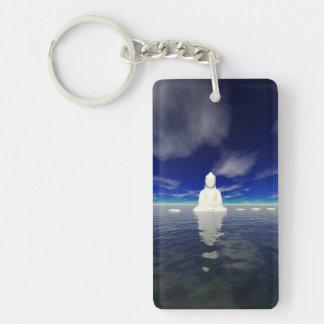 buddha white and steps key ring