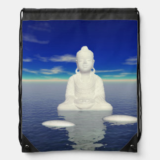 buddha white and two steps drawstring bag