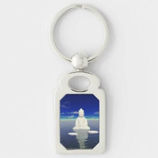 buddha white and two steps key ring
