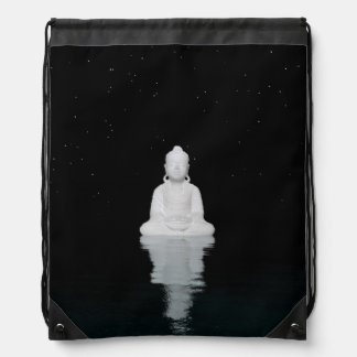 buddha white drawstring bag