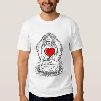 Buddha with a heart t-shirts