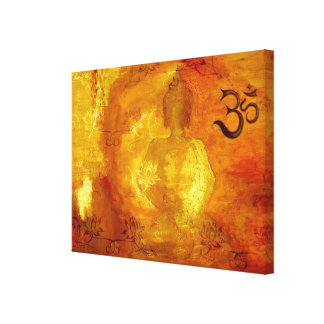 Buddha with Om and Lotosflowers Canvas Print