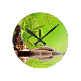 buddha zen serenity garden wall clock